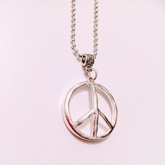 Jewelry large silver peace sign pendant necklace new poshmark large silver peace sign pendant necklace new aloadofball Images